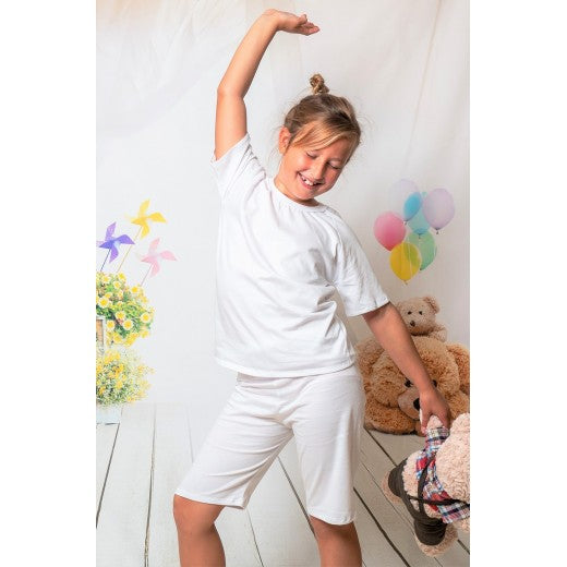 Child White Short Cotton Pjs