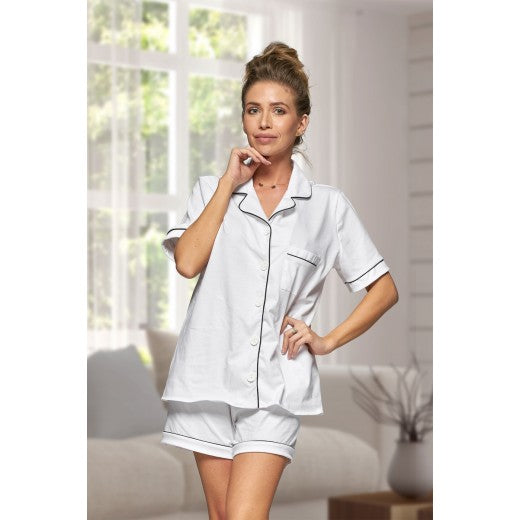 Adult White Cotton Short Pjs
