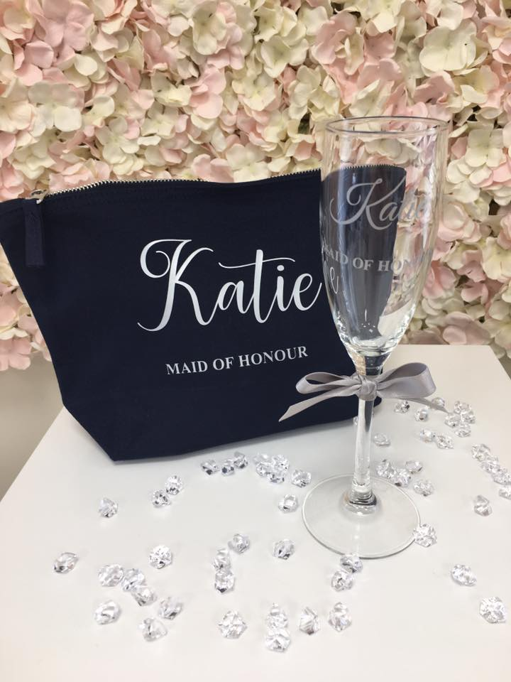 Make-up Bag & Champagne Flute