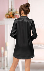 Adult Black Satin Shirt