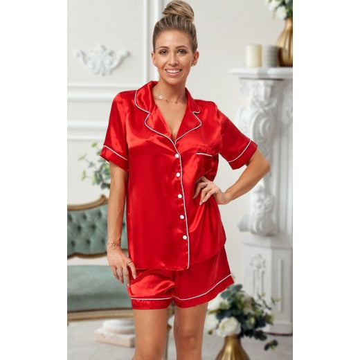 Adult Red Satin Short Pjs