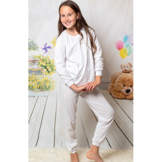 Child White Long Cotton Pjs