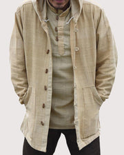 Solid Button-down Long Sleeve Loose Hooded Jackets