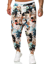 Retro Patterns Printing Harem Drawstring Pants