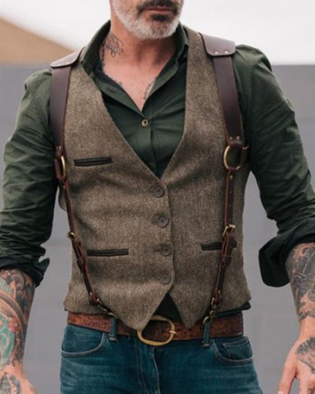 Contrast Pocket Suit Vest