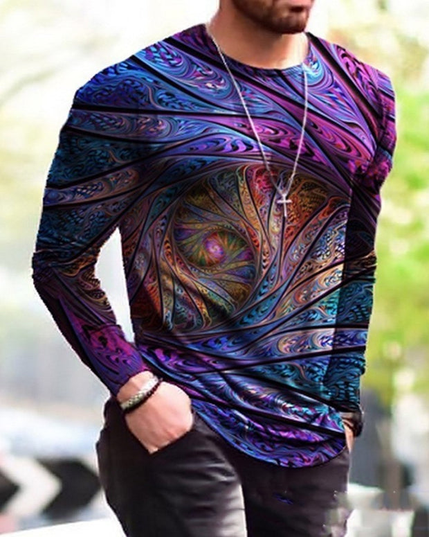 Multicolor Patterns Print Long Sleeve T-shirts