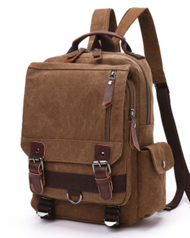 Solid Color Canvas Travel Backpack