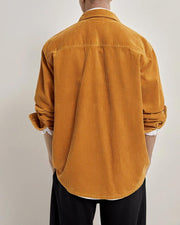 Solid Long Sleeve Loose Corduroy Cargo Shirts