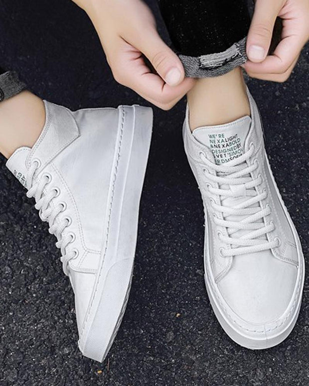 Logo Embroidery High Top Lace-up Sneakers