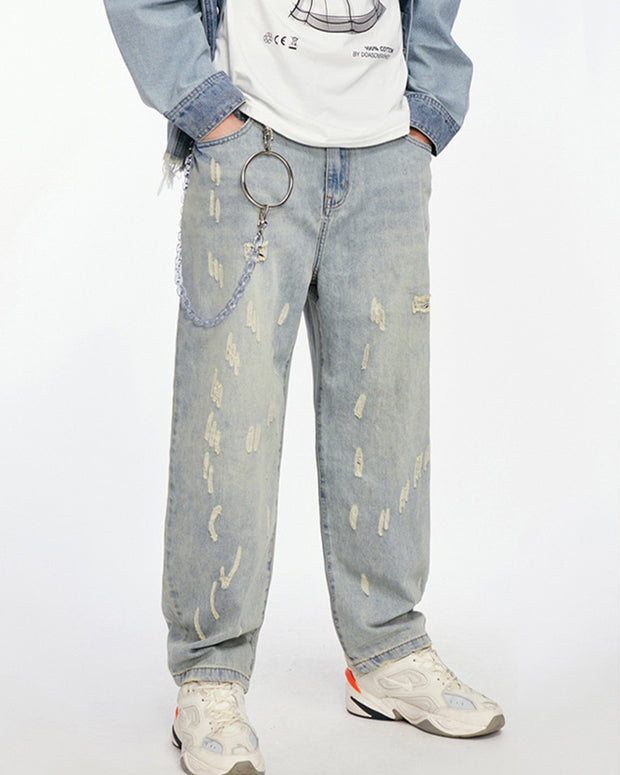 Solid Color Washing Straight Baggy Ripped Jean Pants