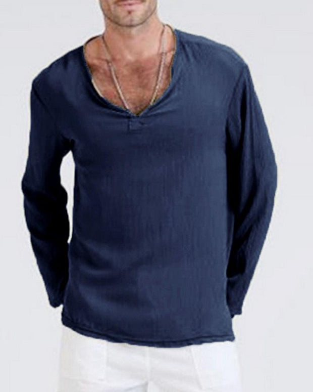 Solid V Neck Long Sleeve Shirt