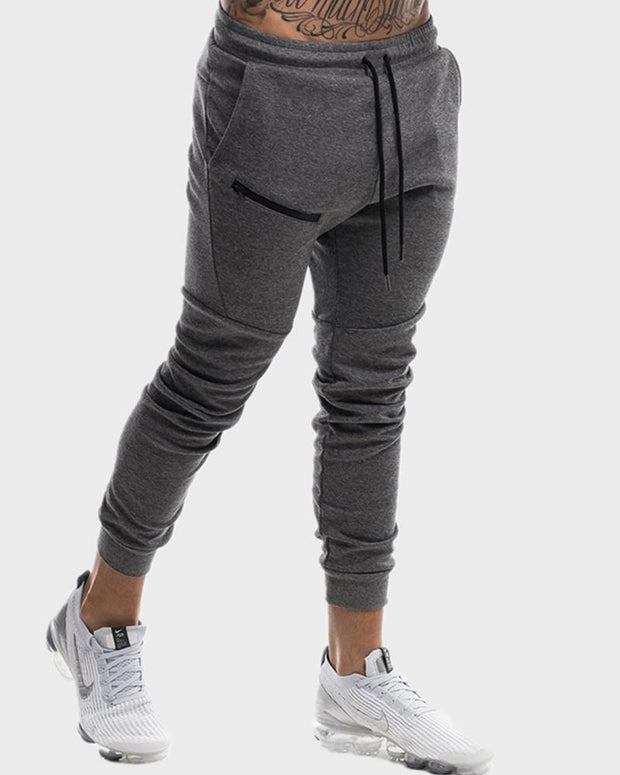 Solid Drawstring Sporty Feet Pants