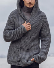 Solid Double-breasted Long Sleeve Hooded Cable-knit Coats