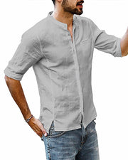 Stand Collar Button Down Shirt