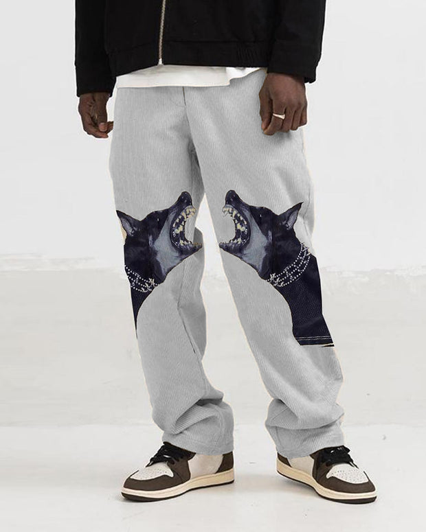 Fashion Dog Print Wide-leg Pants