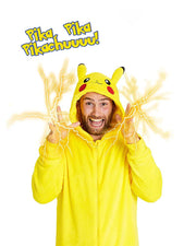 Pikachu Cartoon Long Sleeve Fleece Jumpsuit