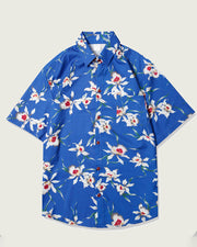 Floral Print Short Sleeve Loose Button-up Shirts