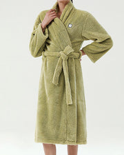 Solid Long Sleeve Lace-up Fleece Bathrobe Coats
