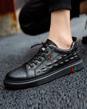 Lace-up Solid Color Crocodile Grain Sneakers