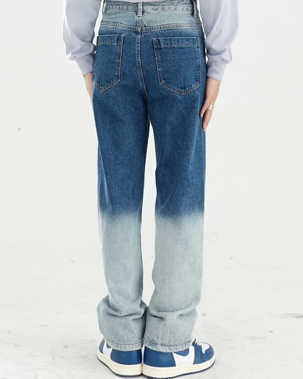 Gradient Washing Long Straight Jean Pants