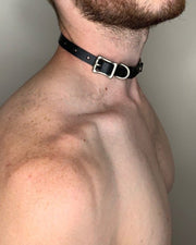 Vintage Leather Choker with Jewelry Necklace