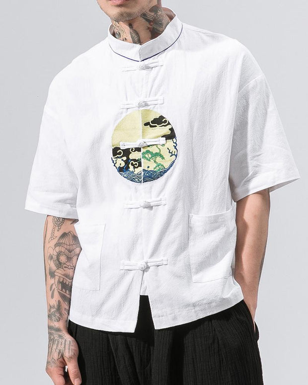 Scenery Print Short Sleeve Frog Button Closure Shirts