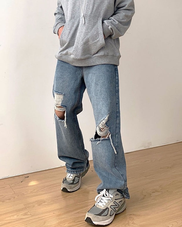 Solid Washing Effect Ripped Loose Straight Leg Denim Pants Jeans