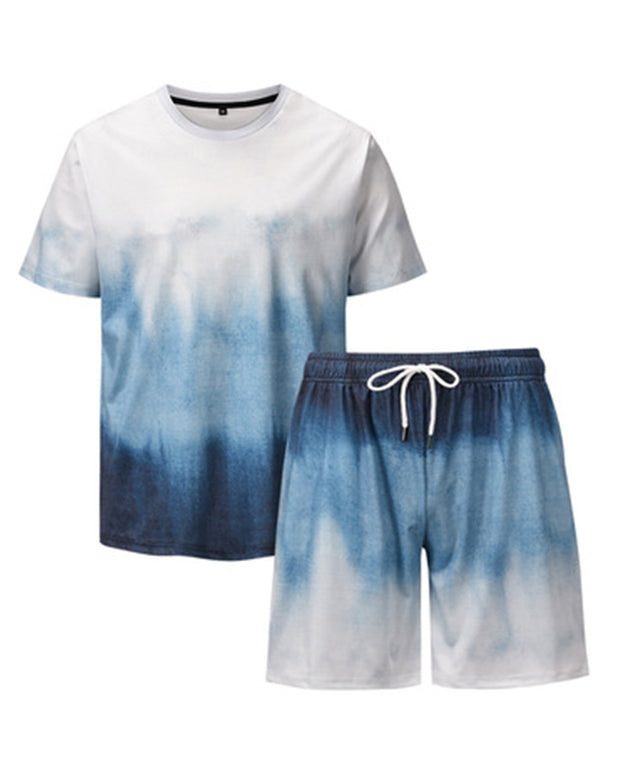 Gradient Print Loose T-shirt With Shorts Suit Sets