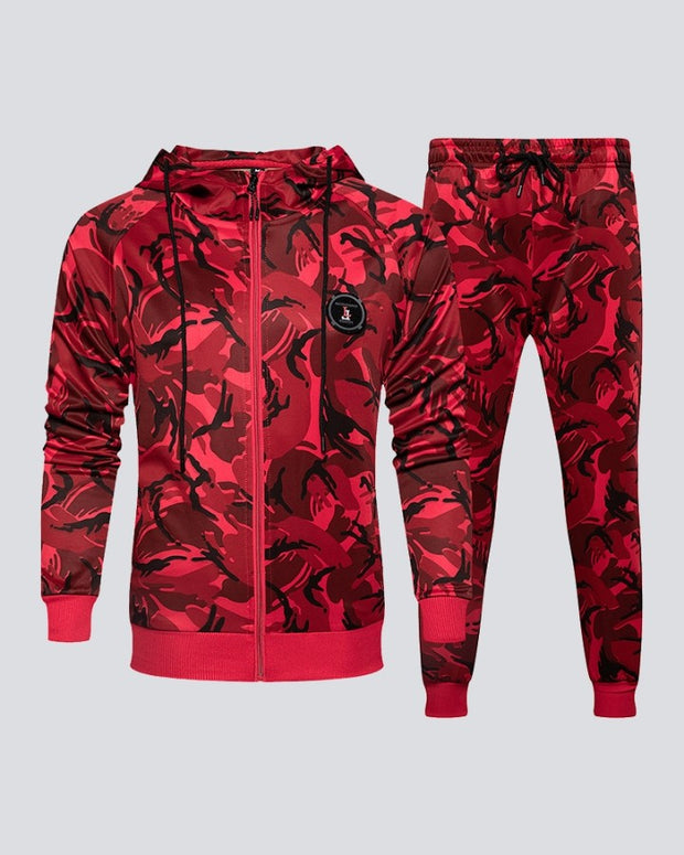 Camouflage Long Sleeve Hooded Sweatshirt Sets