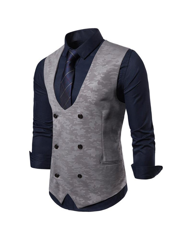 Casual U Neck Double Breasted Waistcoat