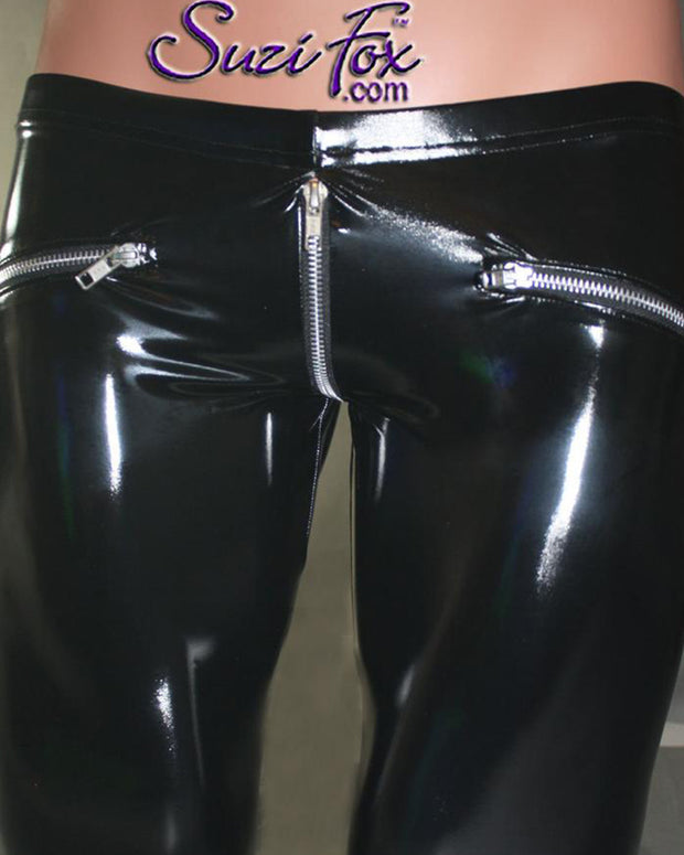 Solid Skinny Zip-up Patent Leather Pants