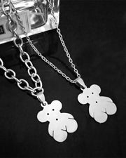 Hip-hop Stainless Steel Teddy Bear Pendant Necklaces