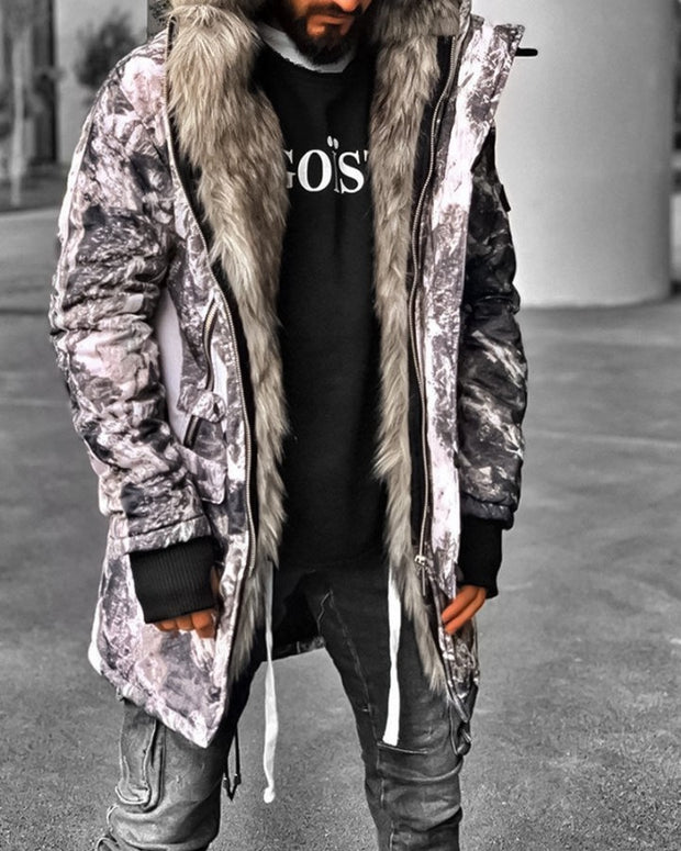 Printing Long Sleeve Loose Hooded Coat