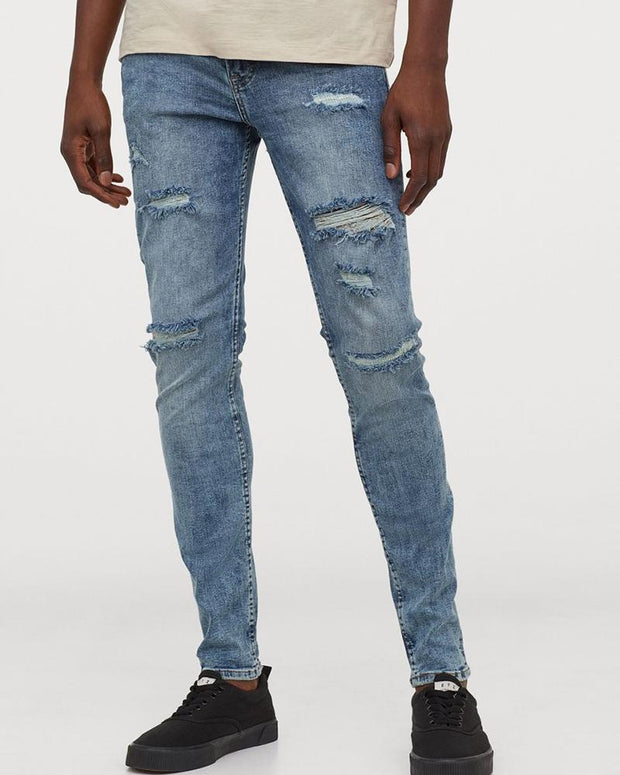 Solid Skinny Ripped Denim Pants