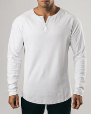 Solid Color Button Long Sleeve T-shirt