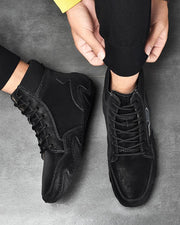 Nubuck Leather Stitching Casual High-top Sneakers