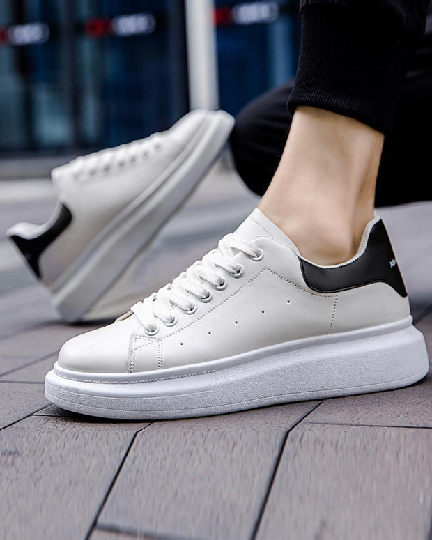 Colorblock Round-toe Pu Lace-up Sneakers