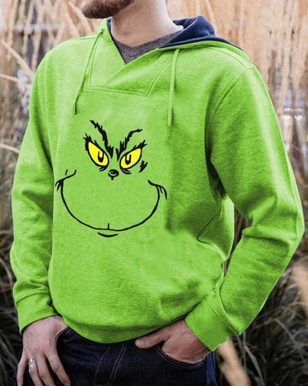 Christmas Grinch Printing Long Sleeve Hooded Sweatshirt