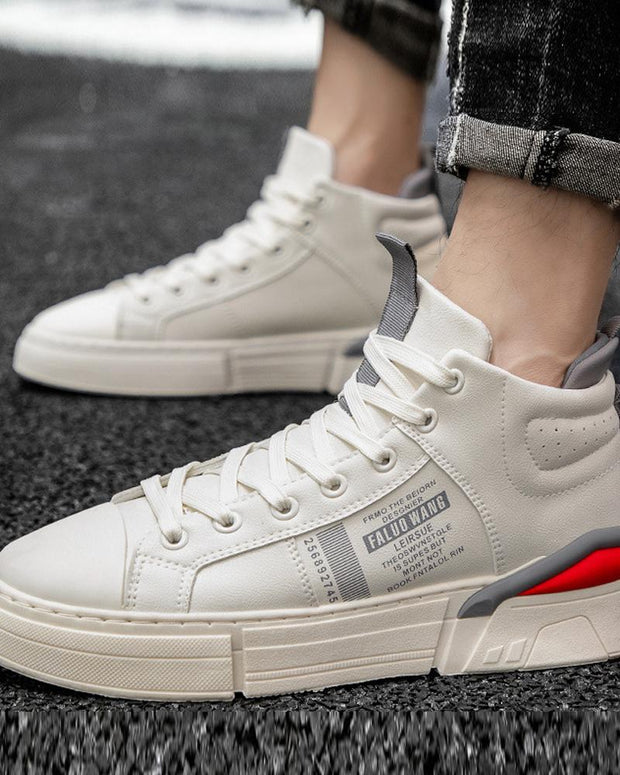 Colorblock Round-toe Lace-up High Top Flat Sneakers