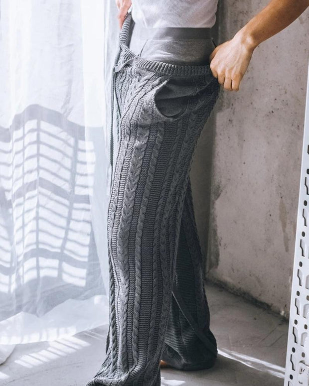 Solid Loose Straight Leg Knitted Pants