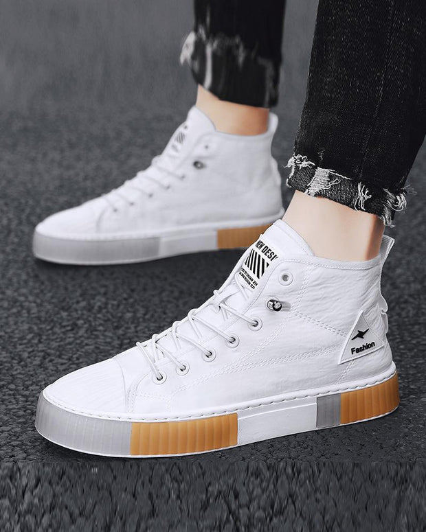 Solid Color Lace-up Round-toe Sneakers