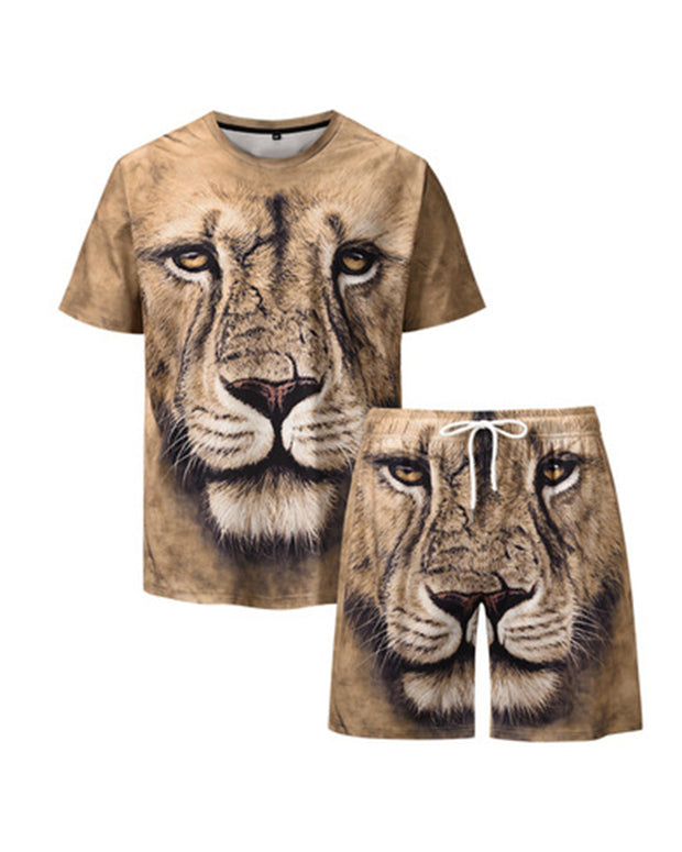 3D Lion Print Short Sleeve T-shirt With Shorts Suit Sets