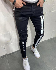 Ripped Elastic Pencil Pants