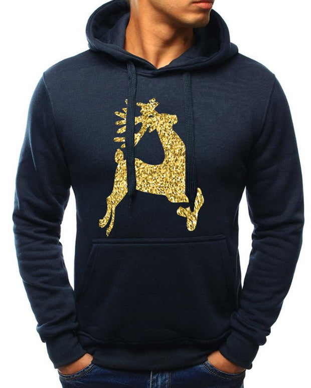 Christmas Shinny Reindeer Long Sleeve Hoodies Sweatshirt
