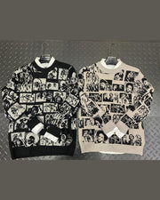 Figure Face Print Long Sleeve Loose T-shirts