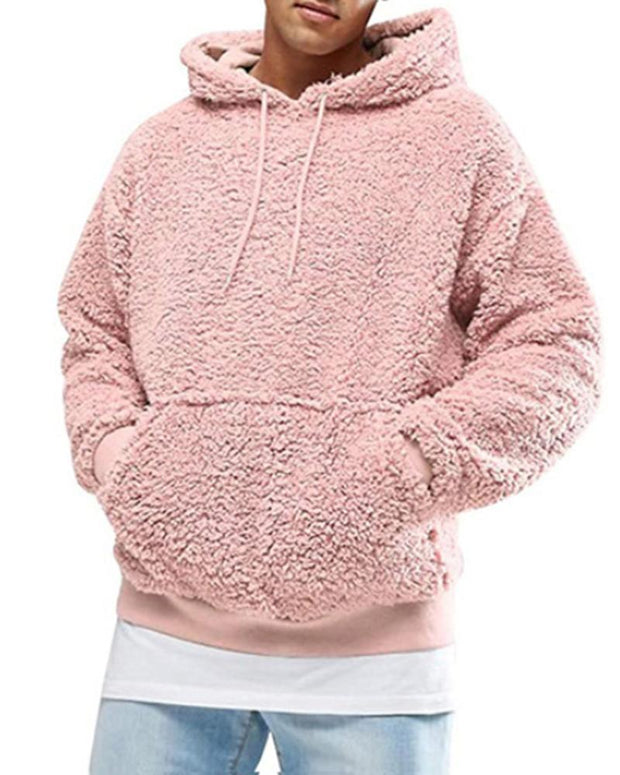 Casual Solid Plush Hooded Hoodies
