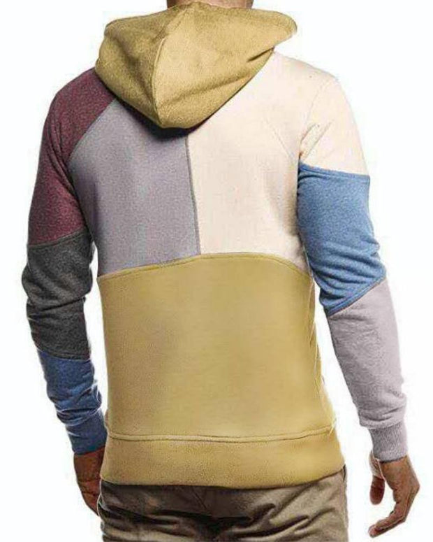 Color Block Long Sleeve Hooded Sweatshirt