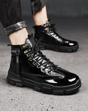 Solid Zipper Patch Round-toe Patent Leather High Top Lace-up Sneakers