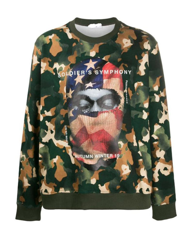 Camouflage Figure Print Long Sleeve Loose T-shirts