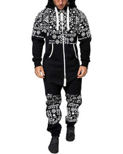 National Style Printing Long Sleeve Hooded Jumpsuit